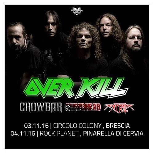 Overkill tour 2016 Italia