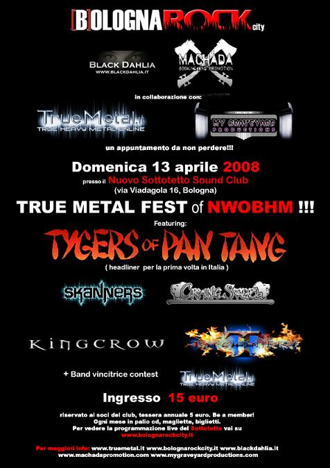 TrueMetal Fest, Sottotetto, Bologna, Steel Crown, Tarchon Fist, Skanners, Crying Steel, Tygers Of Pan Tang